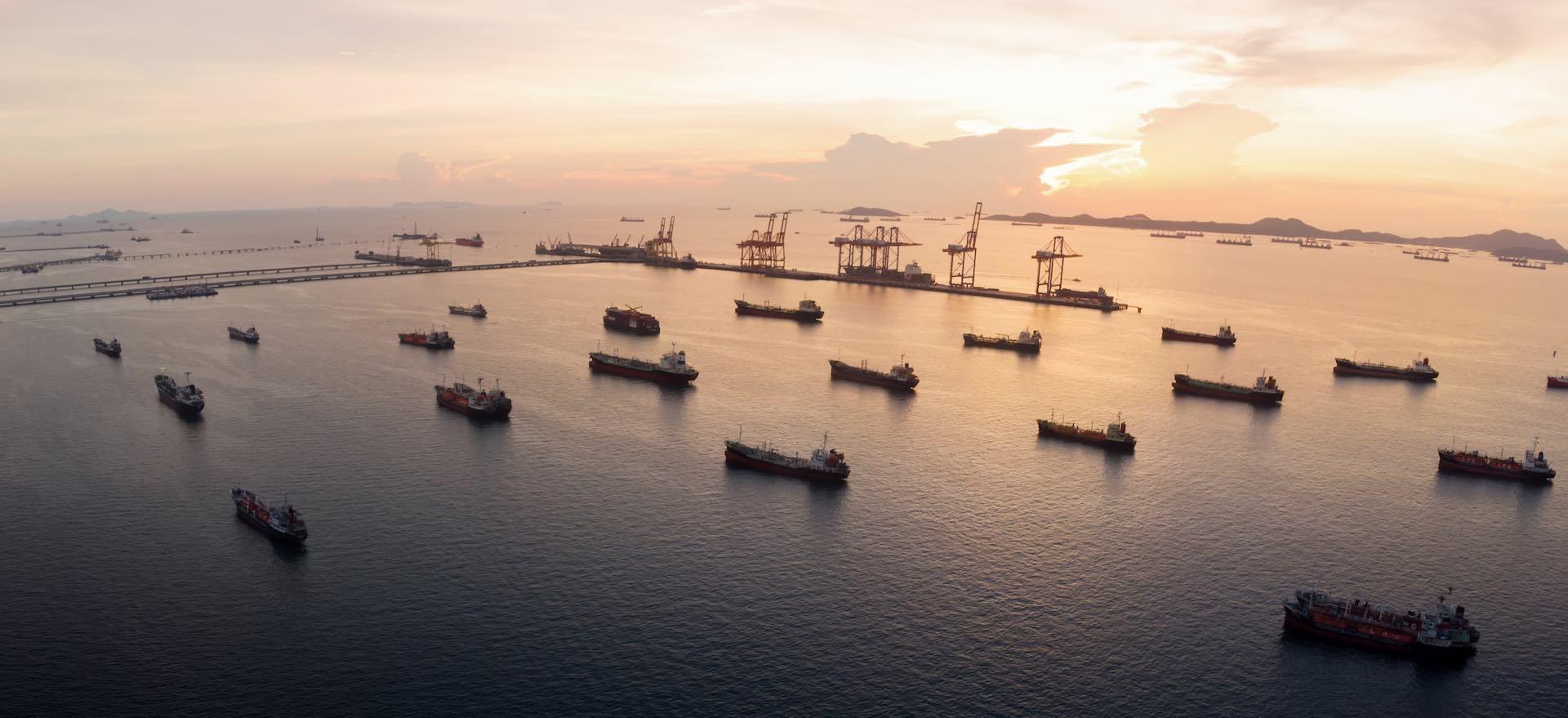 Aerial view of  gas ship around international terminal ship port.