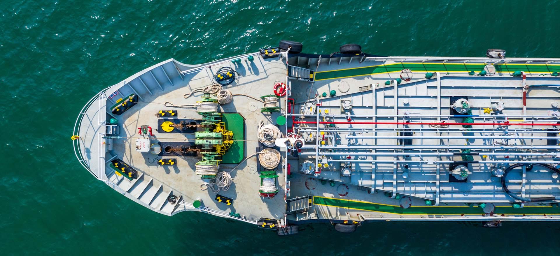 Aerial view of  gas ship around international terminal ship port